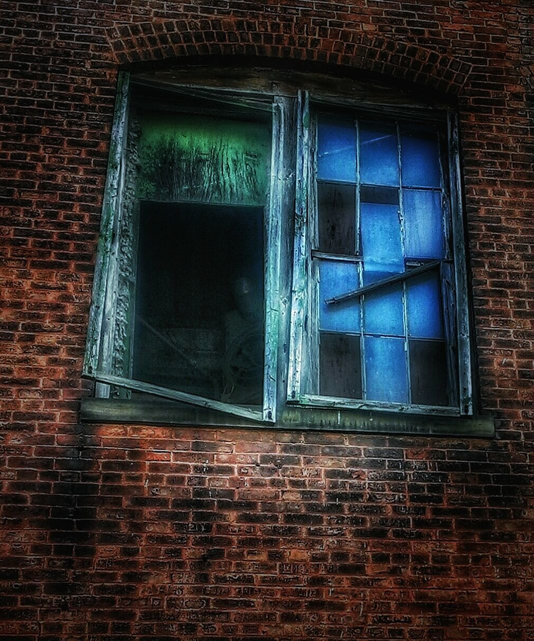 window, architecture, building exterior, brick wall, built structure, no people, low angle view, day, outdoors, close-up