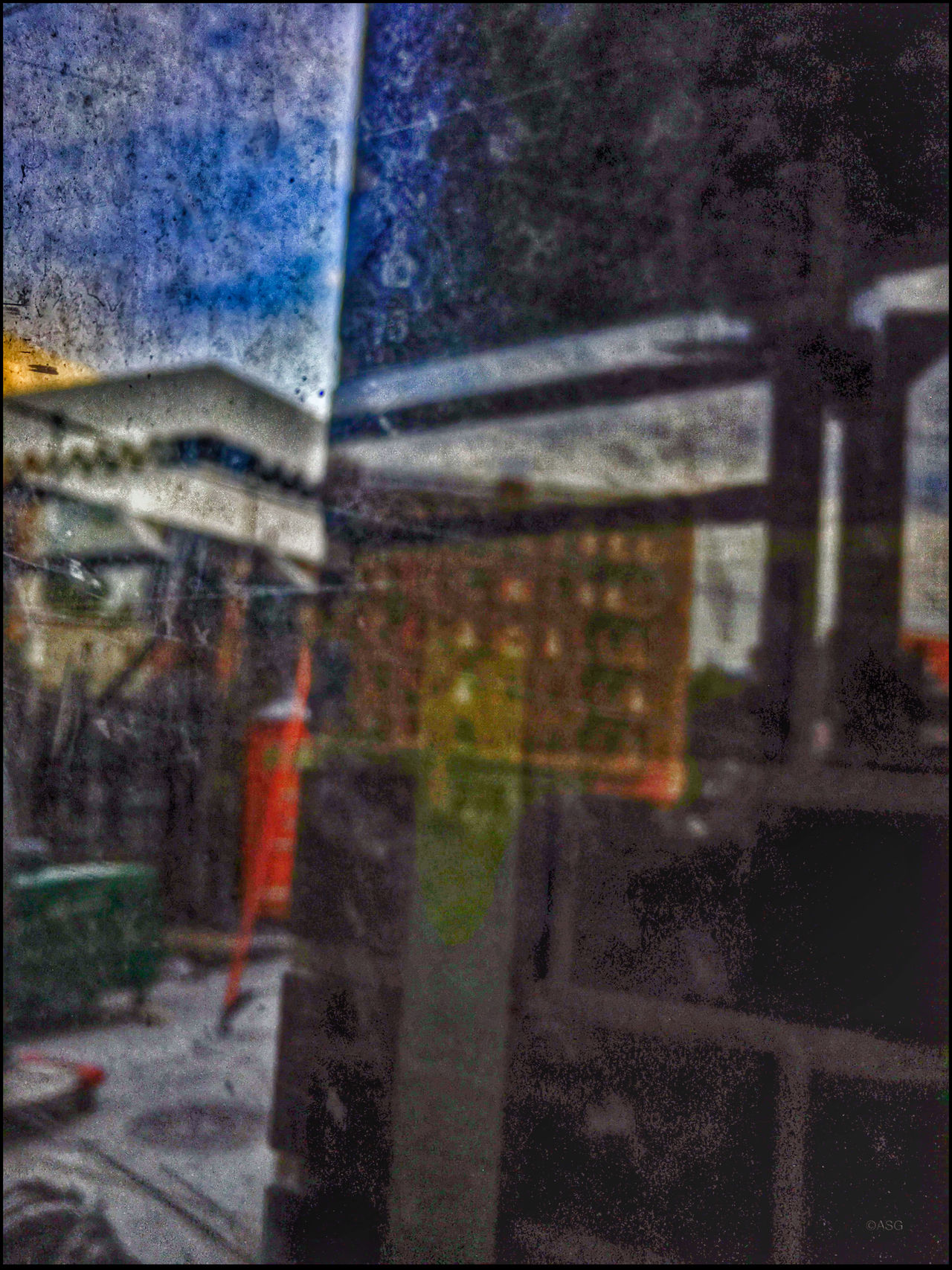 Construction site Reflection - 8/17/16 As I Sees It Color Pallete Colour Of Life, EyeEm StreetPhotography, NYC IPhone Creative Edits W/ Snapseed Malephotographerofthemonth Opportunistic Images On The Go Scratched Up Plastic Reflection The Journey Is The Destination