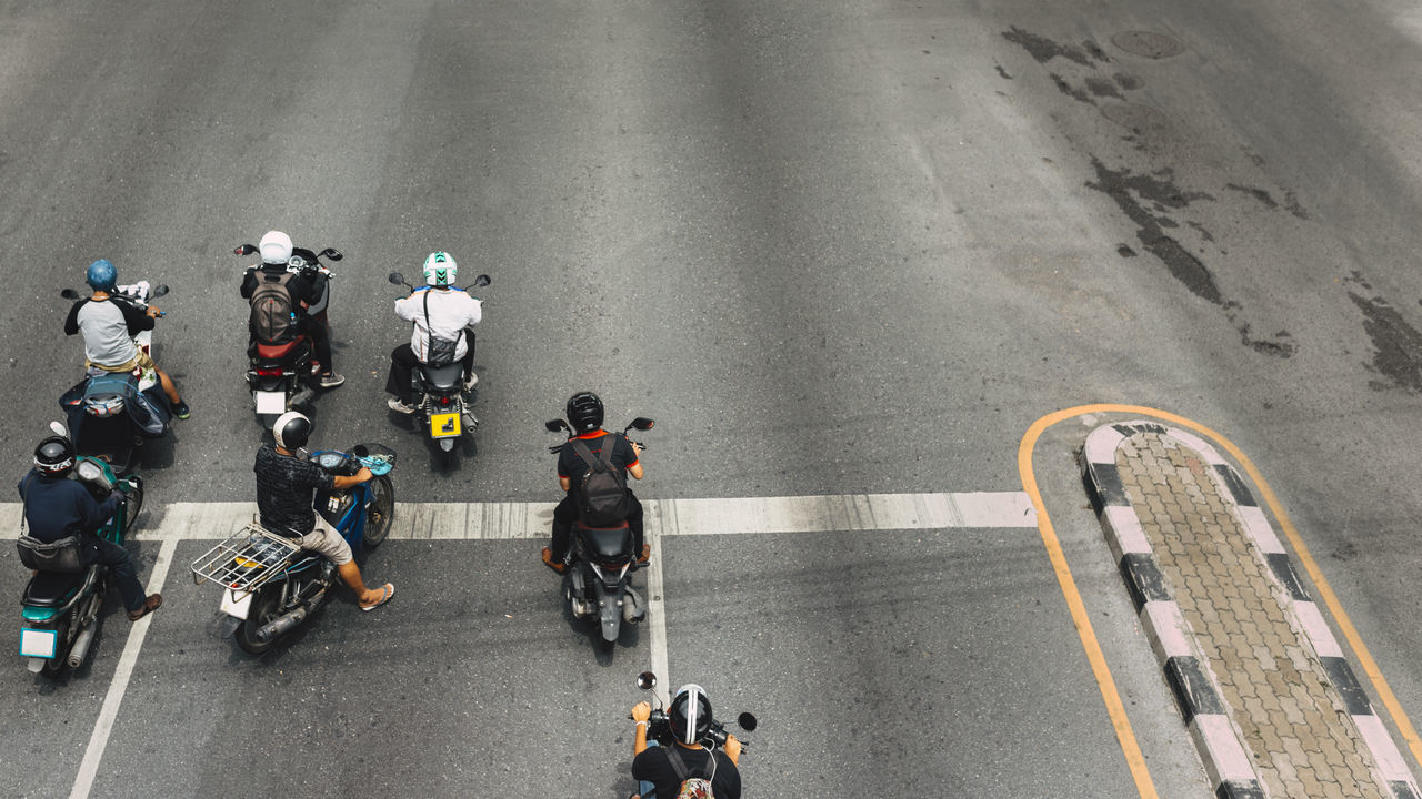 Biker City Go High Angle View Motorcycle Motorcycle Riding Road Street Traffic Transportation Urban Vehicle Velocity