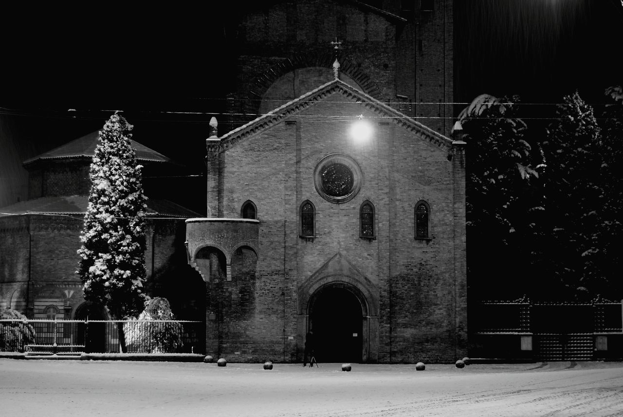 Facade Of Santo Stefano Church At Night
