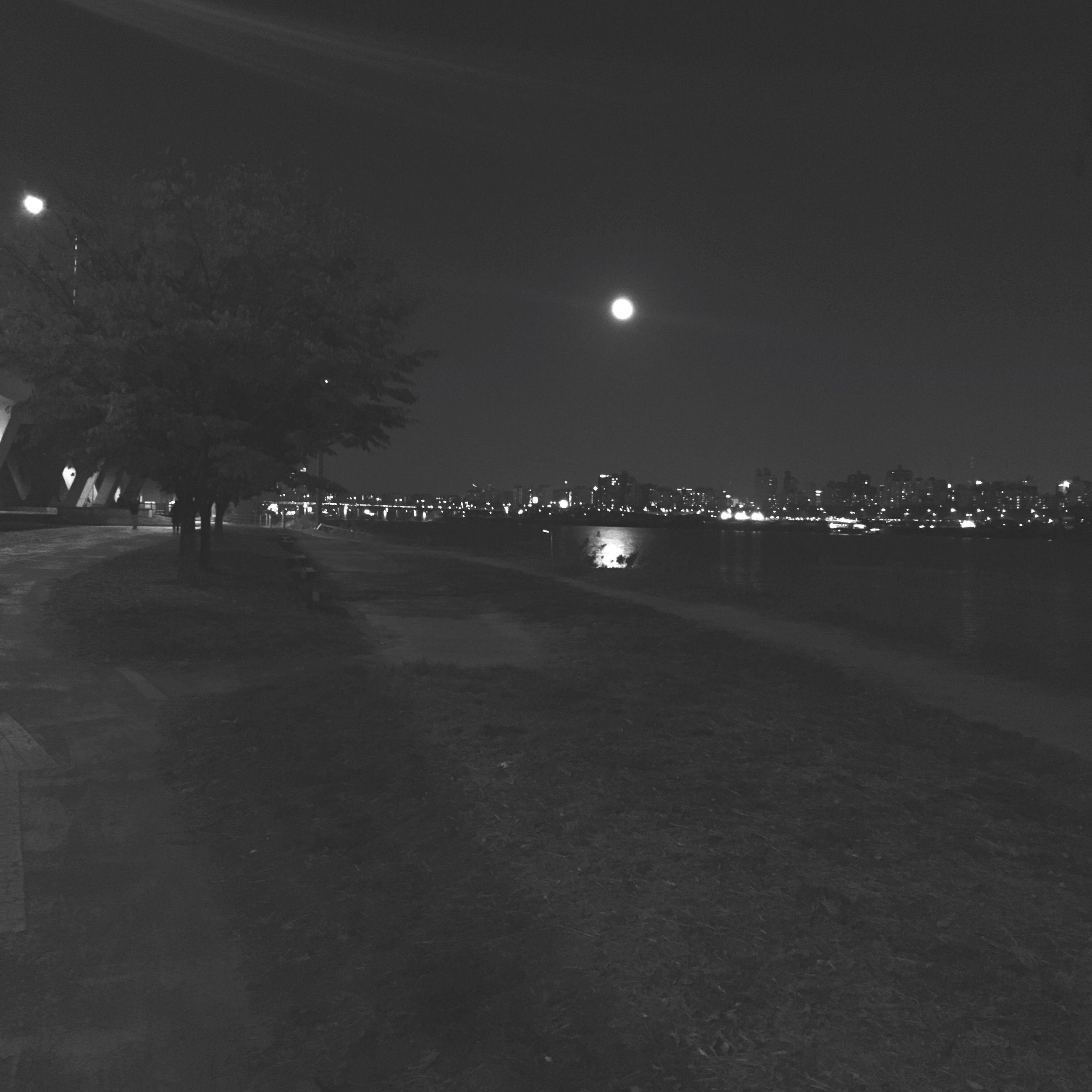 night, illuminated, moon, outdoors, sky, nature, tree, no people, city