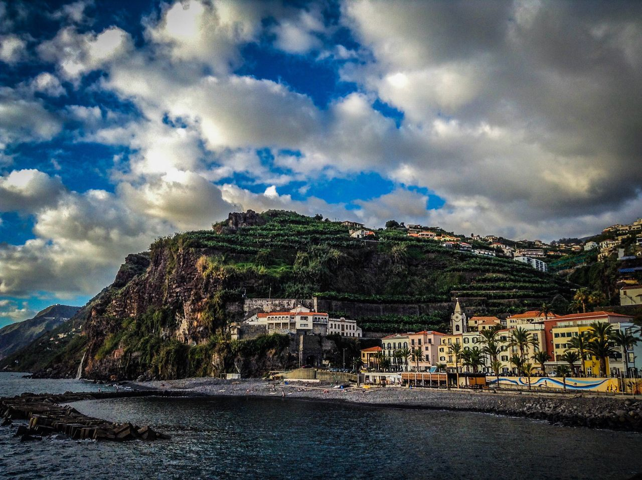 Cloud - Sky Sky Mountain Built Structure Architecture Water Building Exterior Day No People Outdoors Scenics Waterfront Nature Tranquility Beauty In Nature Lake Madeira Island Pontadosol