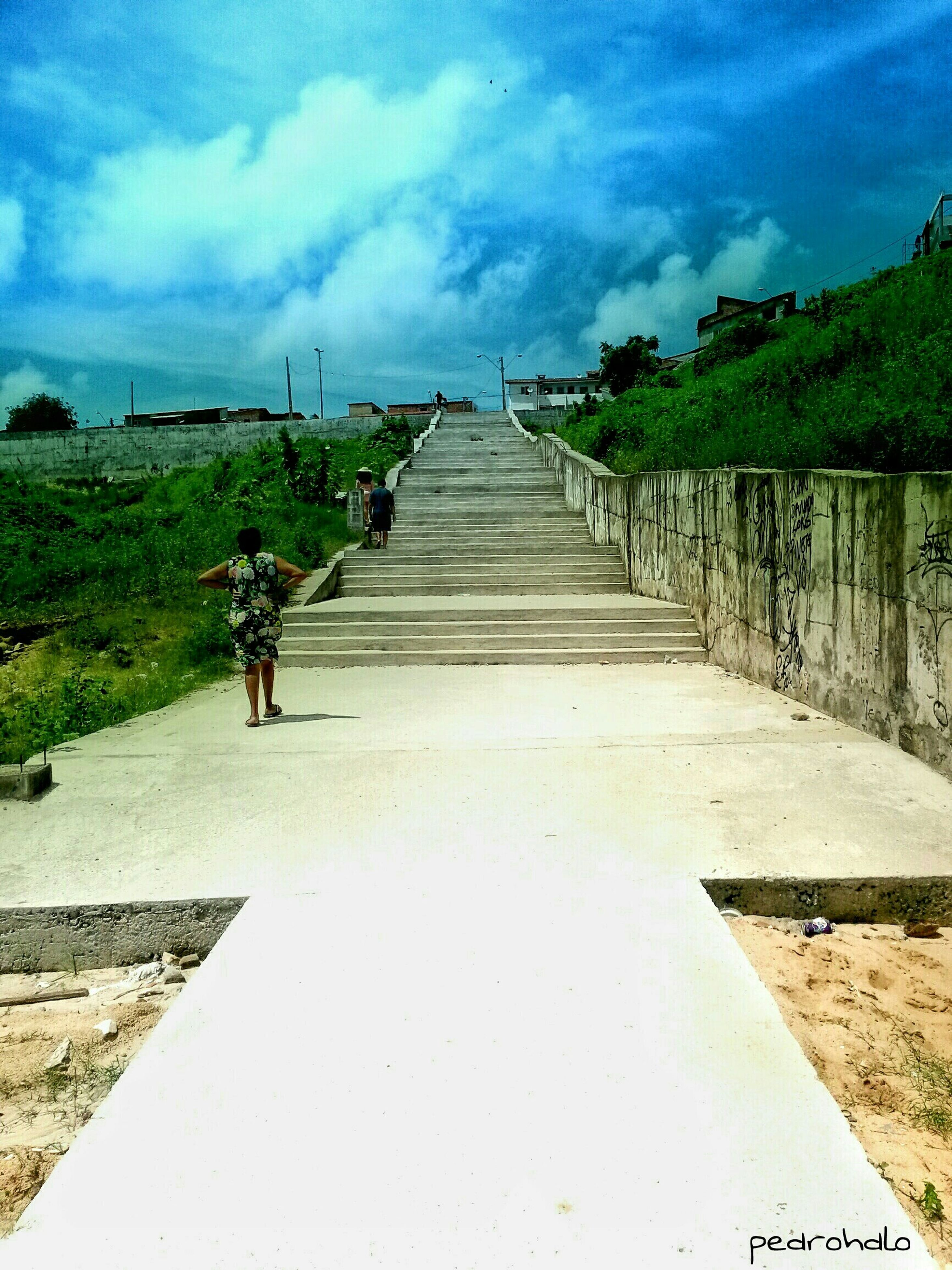 the way forward, sky, diminishing perspective, vanishing point, cloud - sky, built structure, tree, steps, cloud, leading, architecture, long, blue, empty, steps and staircases, pathway, footpath, walkway, cloudy, day