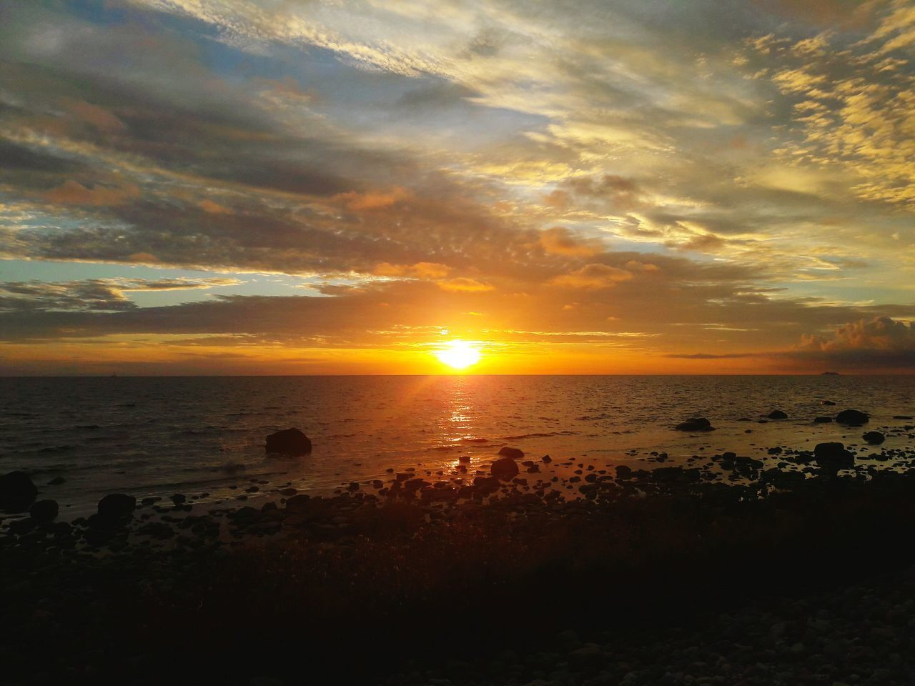 Sunset Sea Water Horizon Over Water Scenics Tranquil Scene Sun Beach Tranquility Beauty In Nature Shore Idyllic Nature Sky Calm Cloud Majestic EyeEm Nature Lover Clouds And Sky Landscape Tranquility Peace And Quiet Orange Color Seascape Non-urban Scene