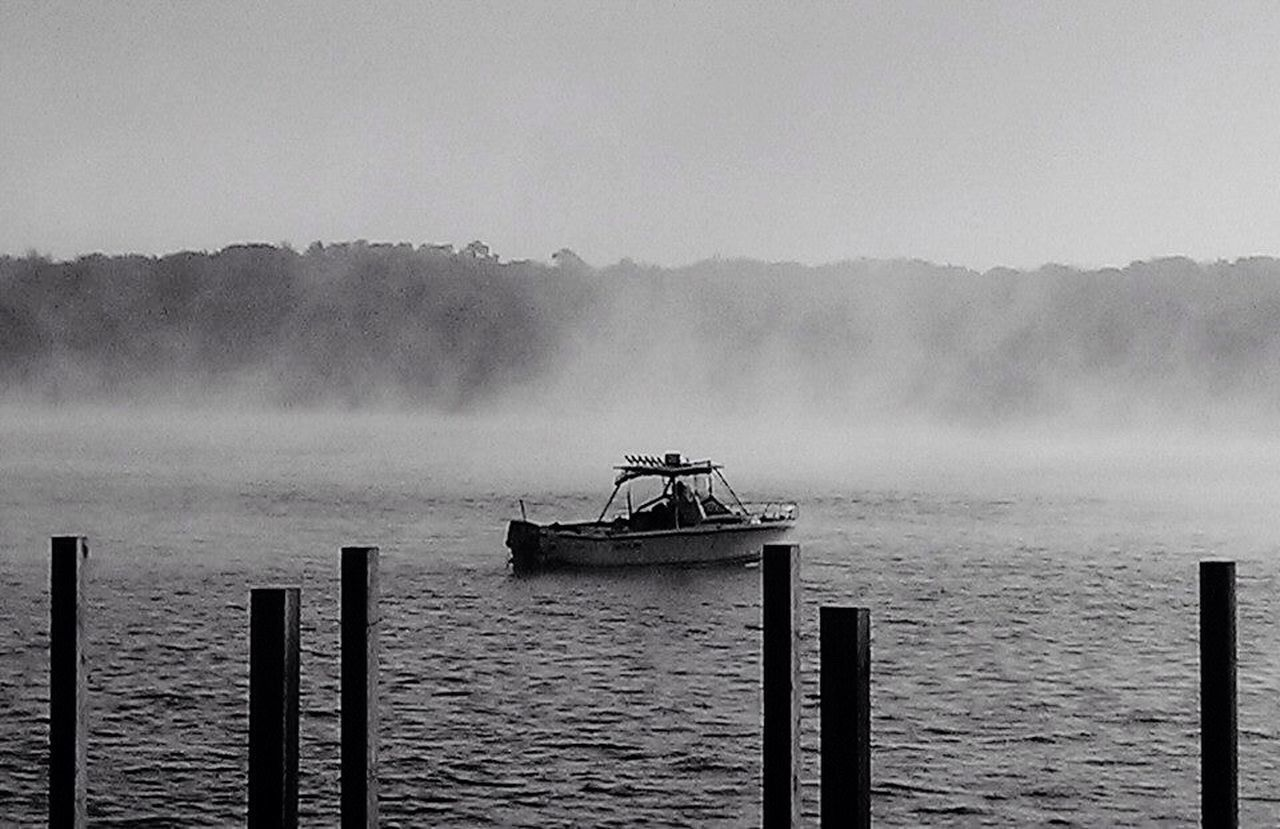 Fog fisherman Boat Tranquility Tranquil Scene Beauty In Nature Quahogger