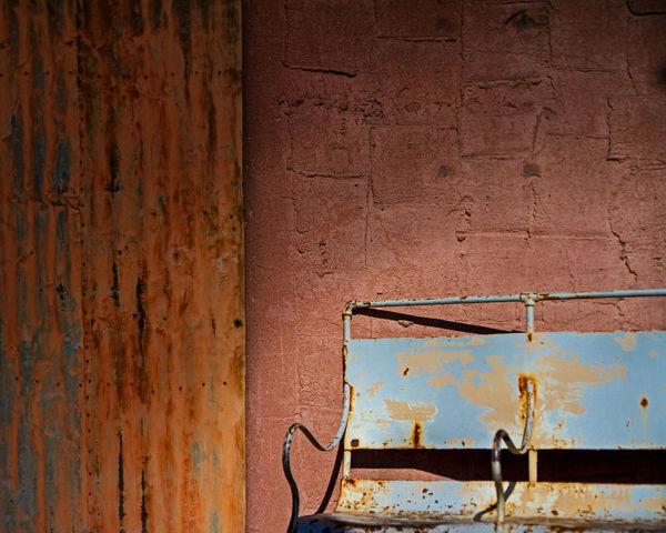 Waiting Adobe Arizona Bench Eric Barnes Photography Metal Old Scottsdale Southwest  Wall Pastel Power Up Close Street Photography