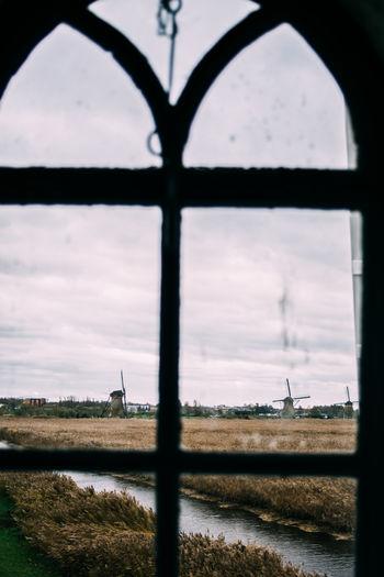 Countryside Dutch Glass Kinderijk Netherlands Rural Windmills Window Window View Winter