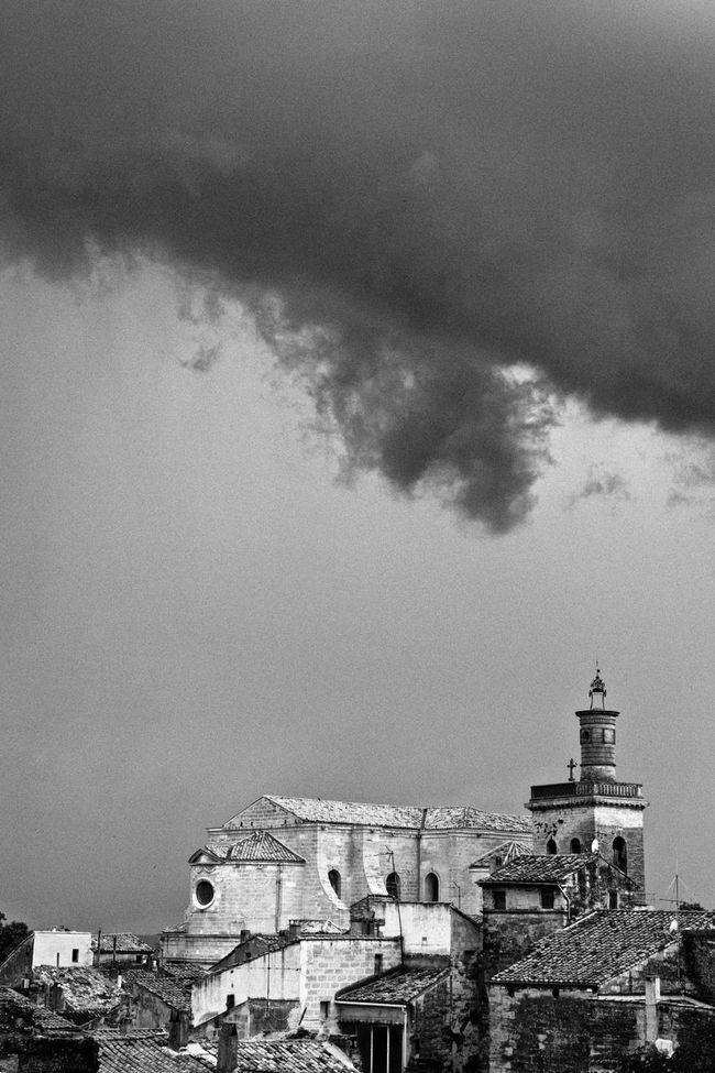 Church On Hill Cloudscape Dramatic Sky Moody Sky Sky Storm Cloud Storm Over Church Uzés