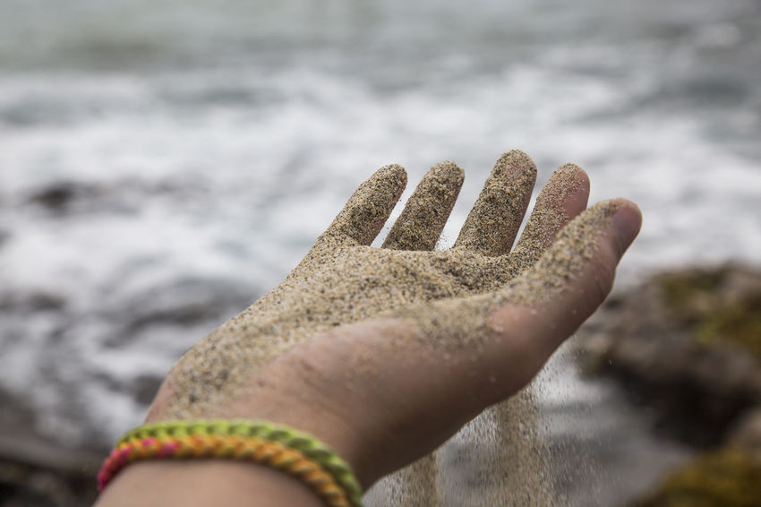 Sand trickle through fingers on beach Hawaii Oceanside Beach Caribbean Close-up Day Focus On Foreground Human Body Part Human Finger Human Hand Leisure Activity Lifestyles Nature Outdoors Personal Perspective Real People Ripple Rippled Sand Sandy Sea Shore Trickle Down Water Waves