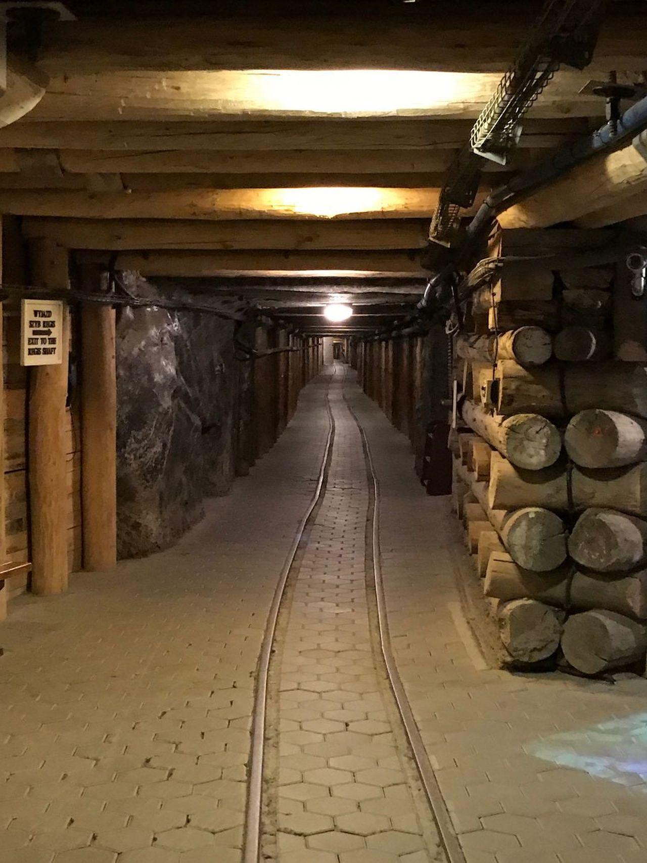 Salt Mine Salt - Mineral Indoors  No People Illuminated Underground Passage Wood - Material The Way Forward Tunnel