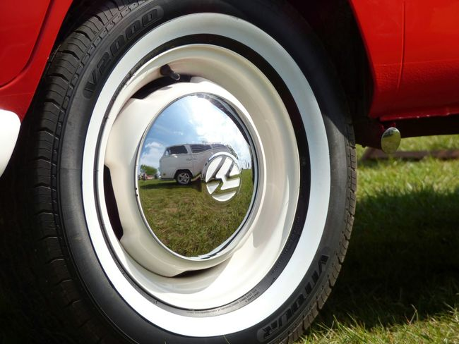 Dubworth, VW Festival - #1 // Camper Camper Van Campervan Circle Close-up Day Field Focus On Foreground Grass Grassy No People Oultonpark Outdoors Part Of Red Reflection Shiny Tire Volkswagen VW VW Bus Vwlove Wheel Wheel White Walls