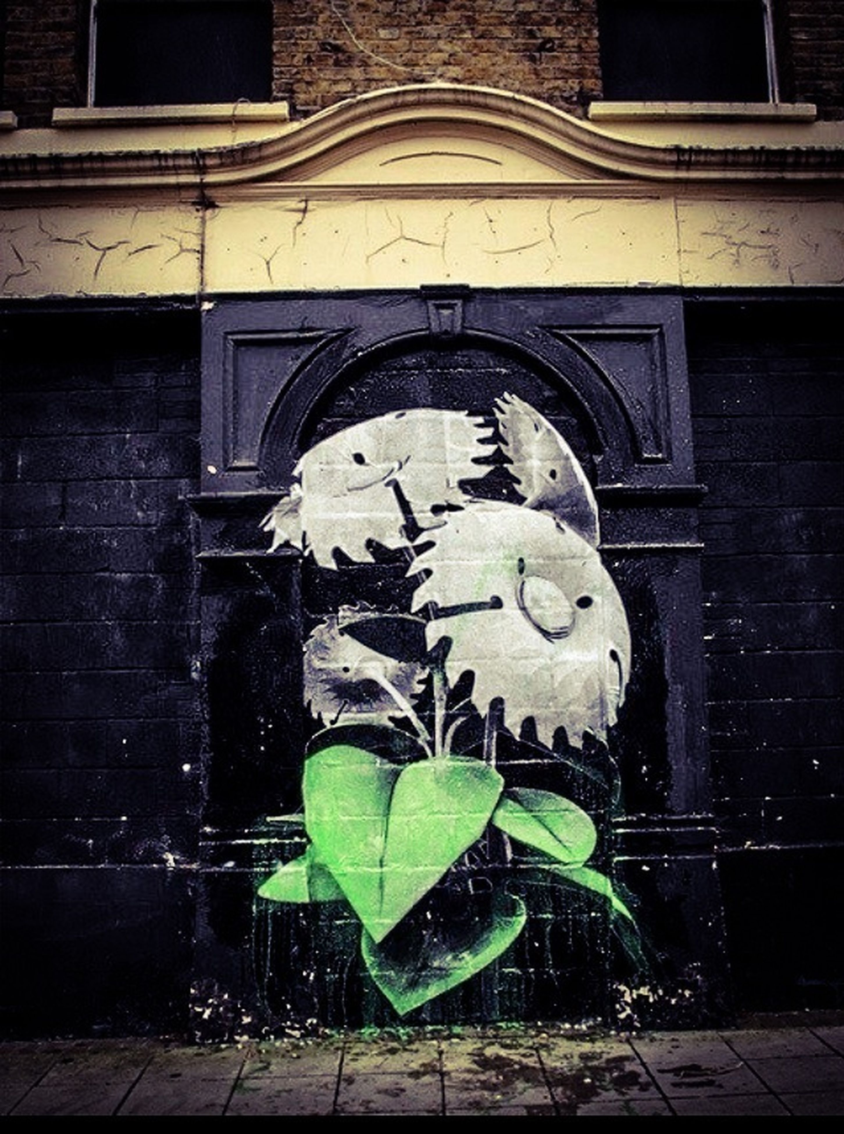 human representation, art and craft, art, creativity, built structure, building exterior, architecture, statue, sculpture, wall - building feature, brick wall, animal representation, graffiti, plant, outdoors, day, wall, window