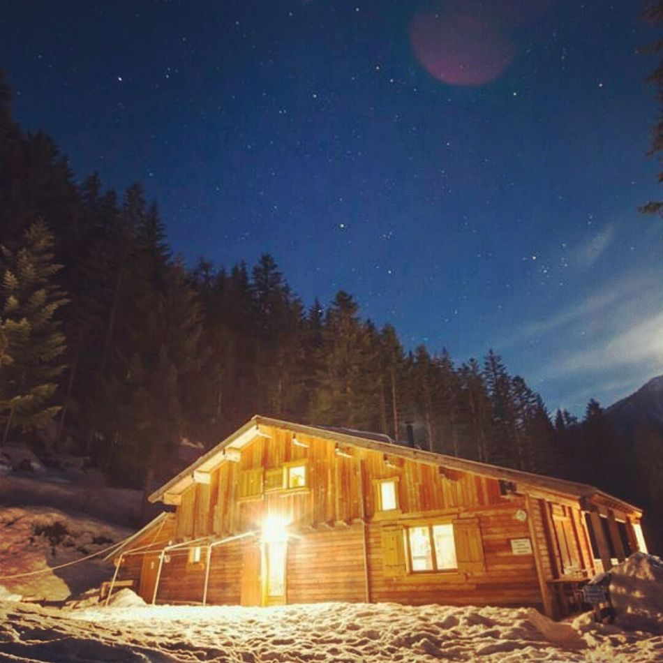 Snow Mountain Cabin Cabin In The Woods Nightphotography Night Star - Space Illuminated Forest House Winter Moonlight Sky France Skiing In France