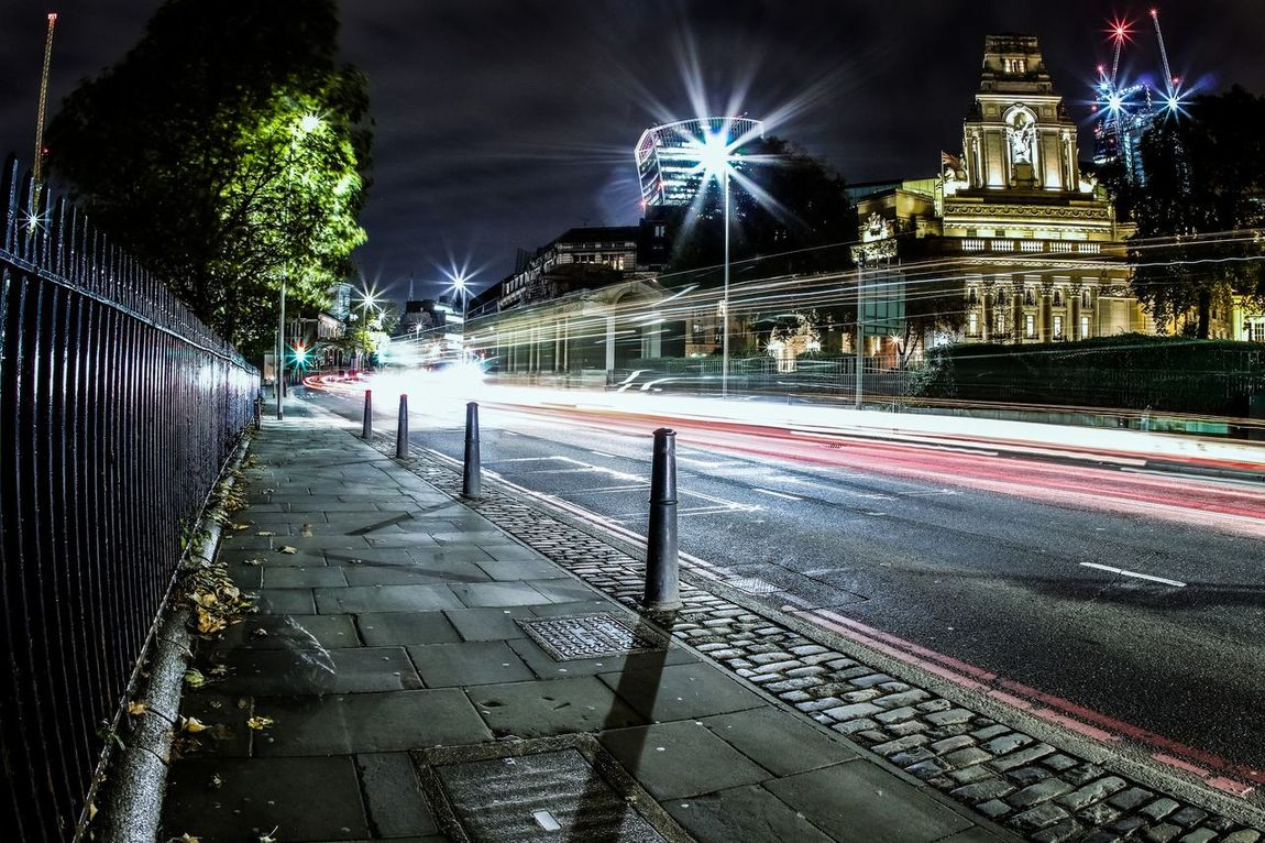Night Illuminated Cold Temperature Outdoors London Long Exposure LONDON❤ London Streets London Architecture EyeEm Best Shots Building Exterior Architecture Light Trail Lightburst Nightphotography Postcode Postcards