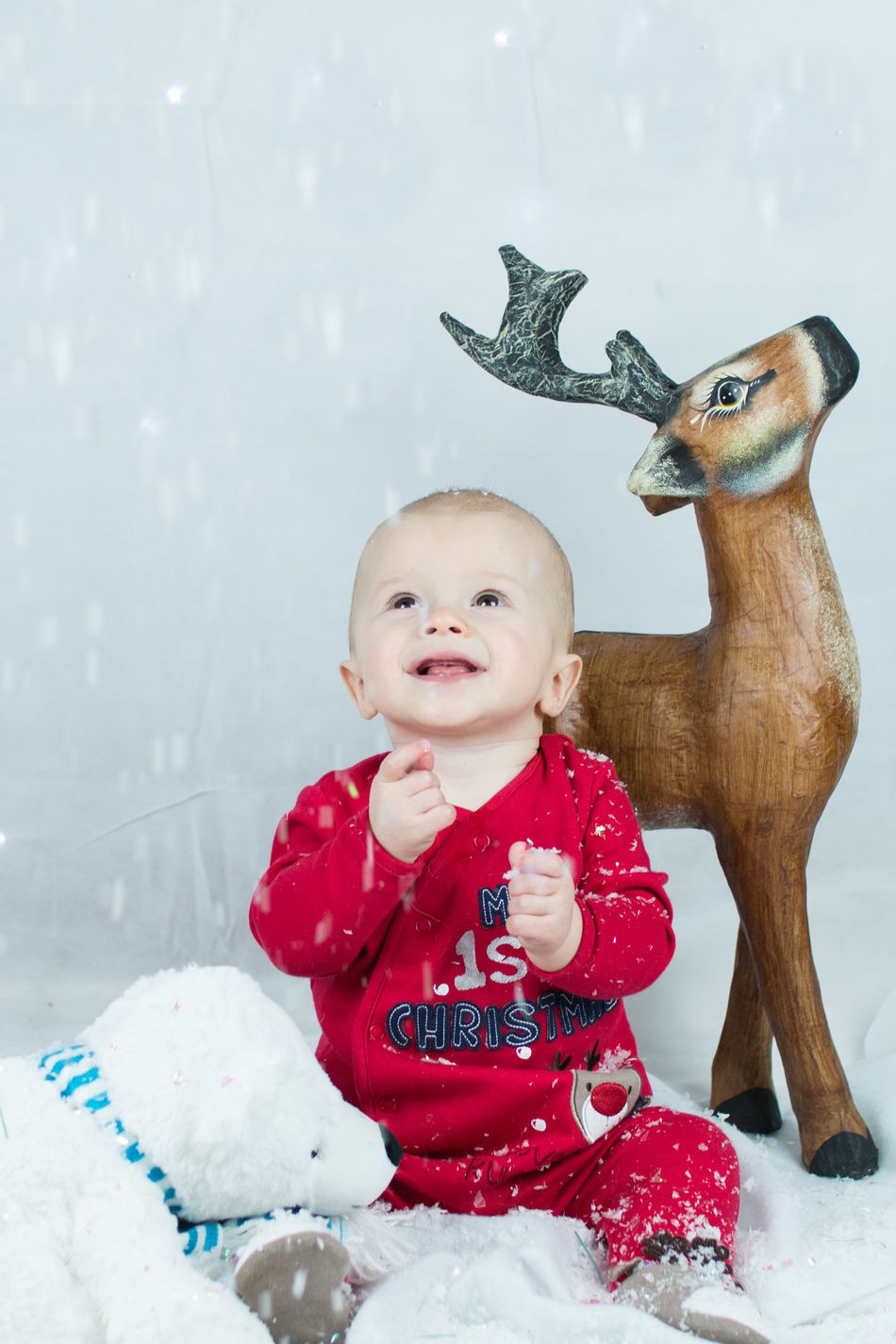 Joyful snow Babies Only Baby Baby Photoshoo Babyhood Cheerful Childhood Christmas Fun Cute Baby Day Festive Fun Full Length Happy Baby Indoors  Let It Snow One Person People Red Smiling Snow Snowflake Snowing Streamzoofamily Winter
