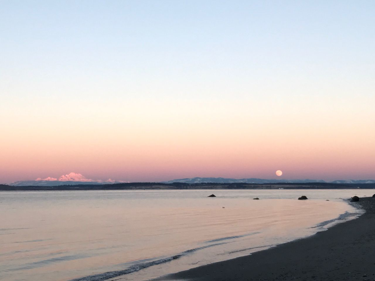 My Baker and the moon during sunset over the Salish Sea and I only had my iPhone! Sea Copy Space Nature Scenics Beauty In Nature Water Beach Clear Sky Sunset Tranquility Outdoors Tranquil Scene No People Sky Day IPhoneography EyeEm Best Shots EyeEm Gallery Beauty In Nature Salish Sea Washington State Mt. Baker Millennial Pink