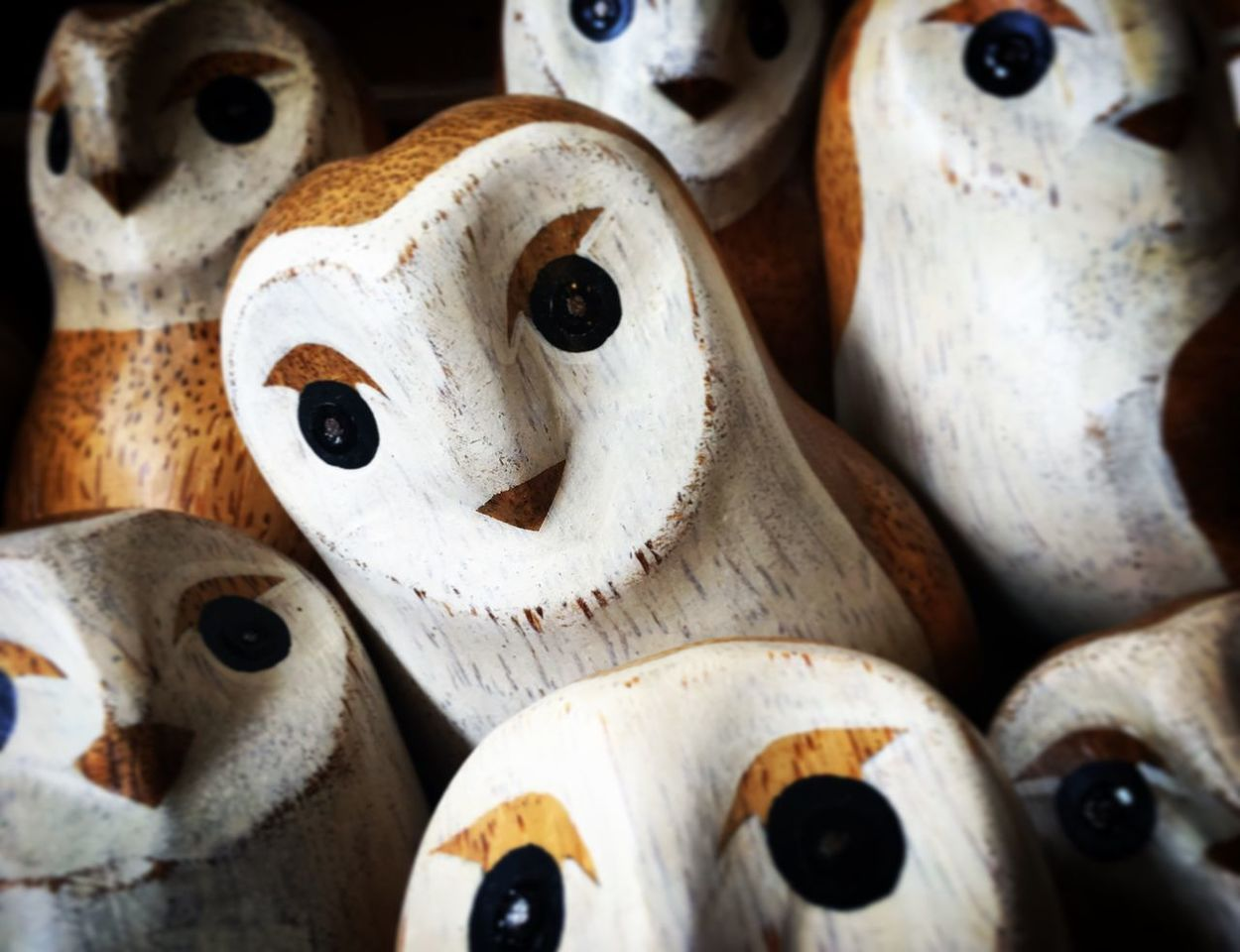 Close-up No People Abundance Indoors  Large Group Of Objects Retail  Full Frame Backgrounds Day Owls Owl Eyes Wooden Owl Carving