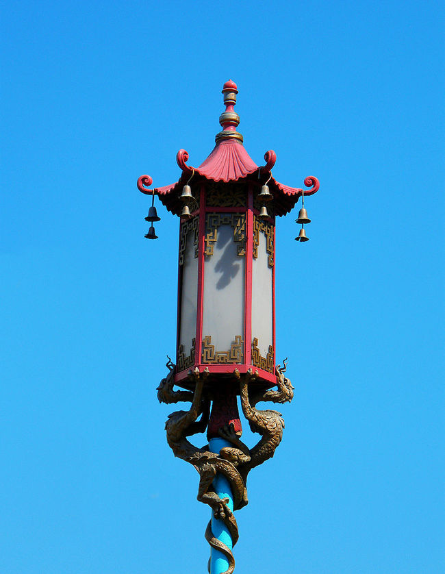 Street Lamp Colori Color USA San Francisco California Blu Blue Blue Sky Red Rosso Chinatown Chinese Lampion
