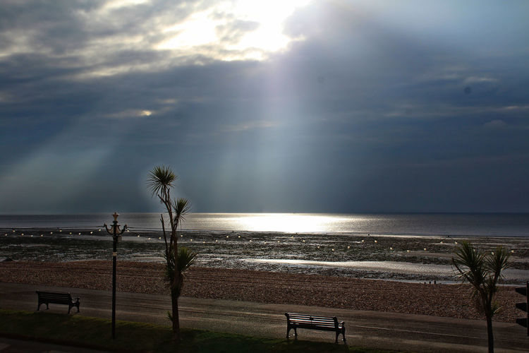 Bench LIGHT BREAKS THROUGH Beach Beauty In Nature Cloud - Sky Day Horizon Over Water Idyllic Light Breaking Nature No People Outdoors Scenics Sea Sky Sunlight Tide Tranquil Scene Tranquility Tree Water