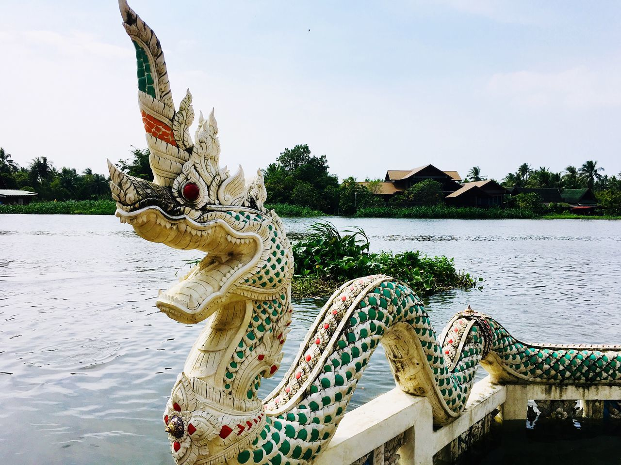 Sculpture Statue Animal Representation Art And Craft Water Naga Naga Decorative Temple Thailand Day Outdoors Sky No People Tree Animal Themes Nature