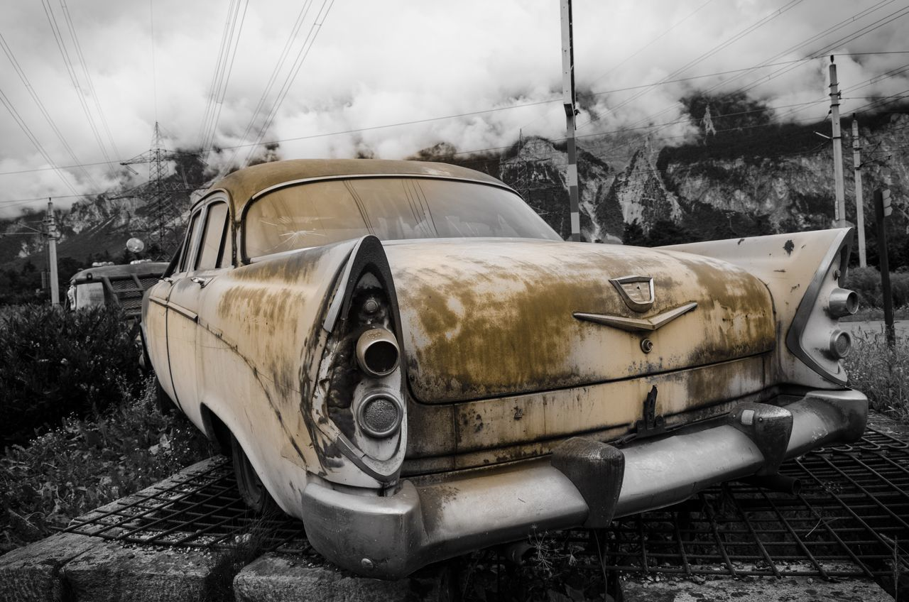 Car Land Vehicle Abandoned Obsolete Old Run-down Damaged Old-fashioned Oldtimer Bad Condition Vehicle Weathered Discarded Outdoors Scrap