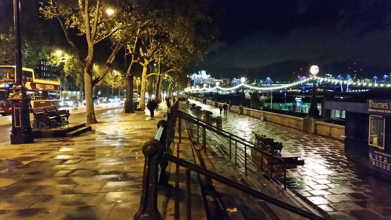 night, illuminated, tree, outdoors, no people, architecture, nature, water, sky