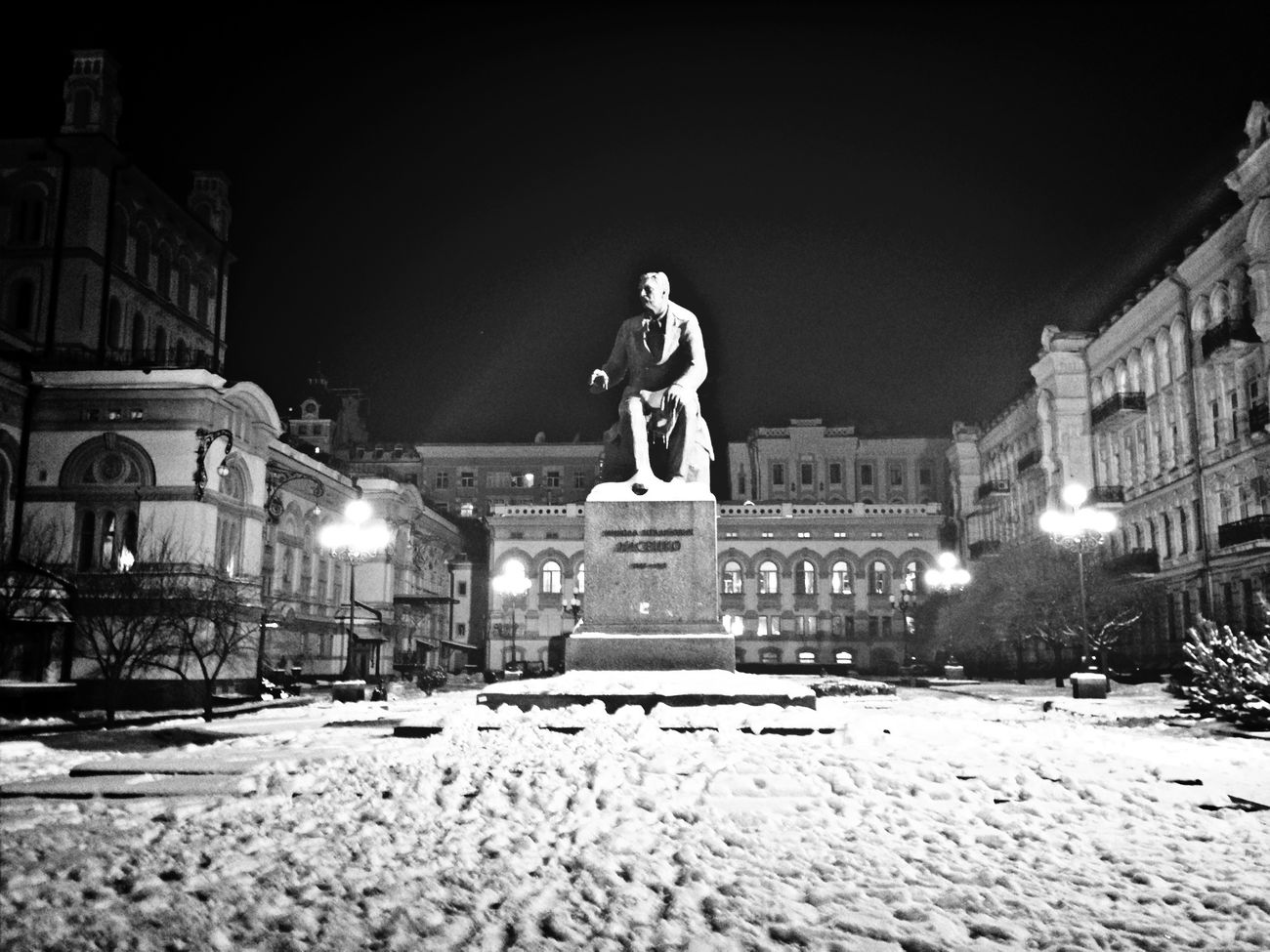 Lysenko Statue Winter White By CanvasPop Architecture