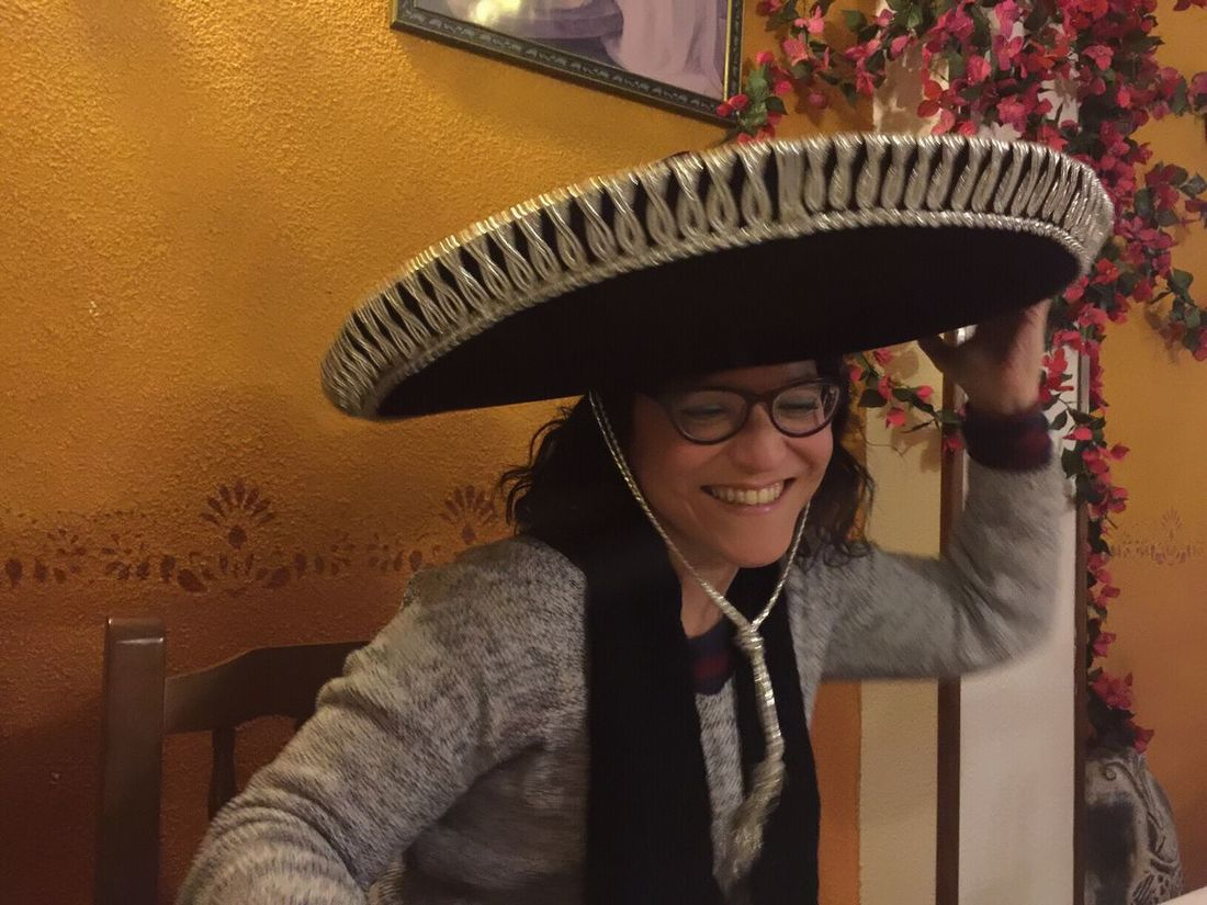 Hat Sombrero Charro Sombrero Mexicano Young Adult One Person Young Women Tex-Mex Tex-Mex Restaurant One Woman Only People One Young Woman Only Adult Happiness Smiling Technology Portrait Indoors