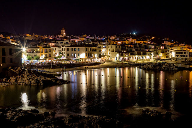 Architecture Buildings Catalonia Cityscape Color Harbor Horizontal Illuminated Night Ocean Outdoors Reflection Sky SPAIN Star Travel Destinations Water Wave