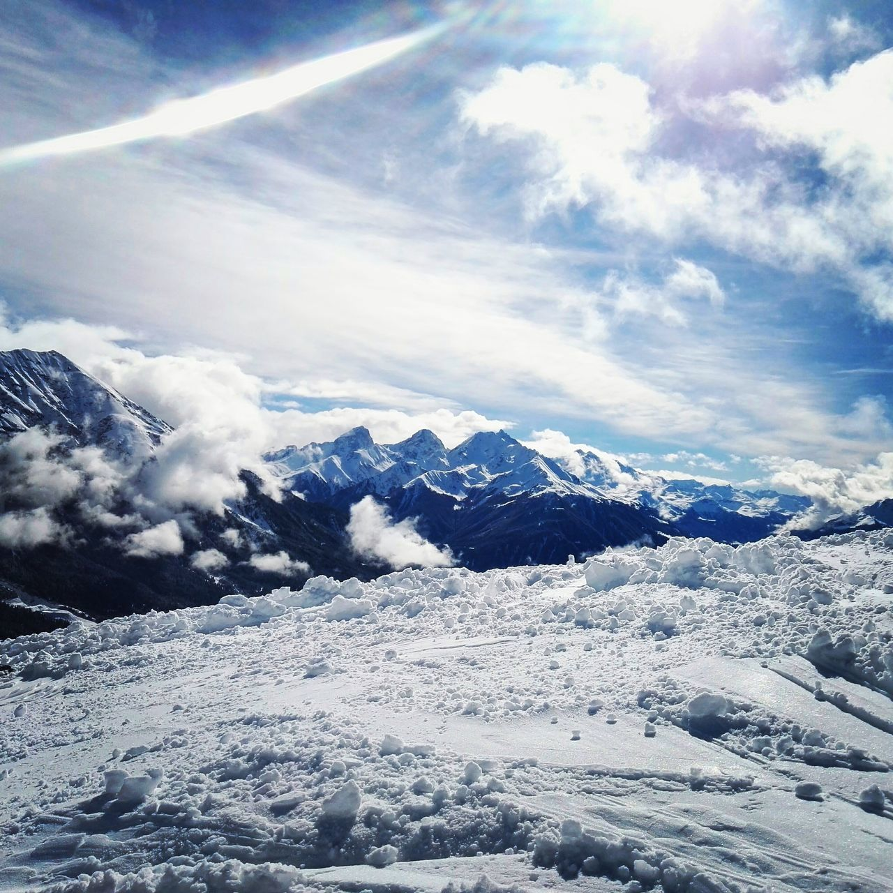 Snow Cloud - Sky Scenics Nature Mountain Beauty In Nature Outdoors Sky Freshness No People Winter Snowboard