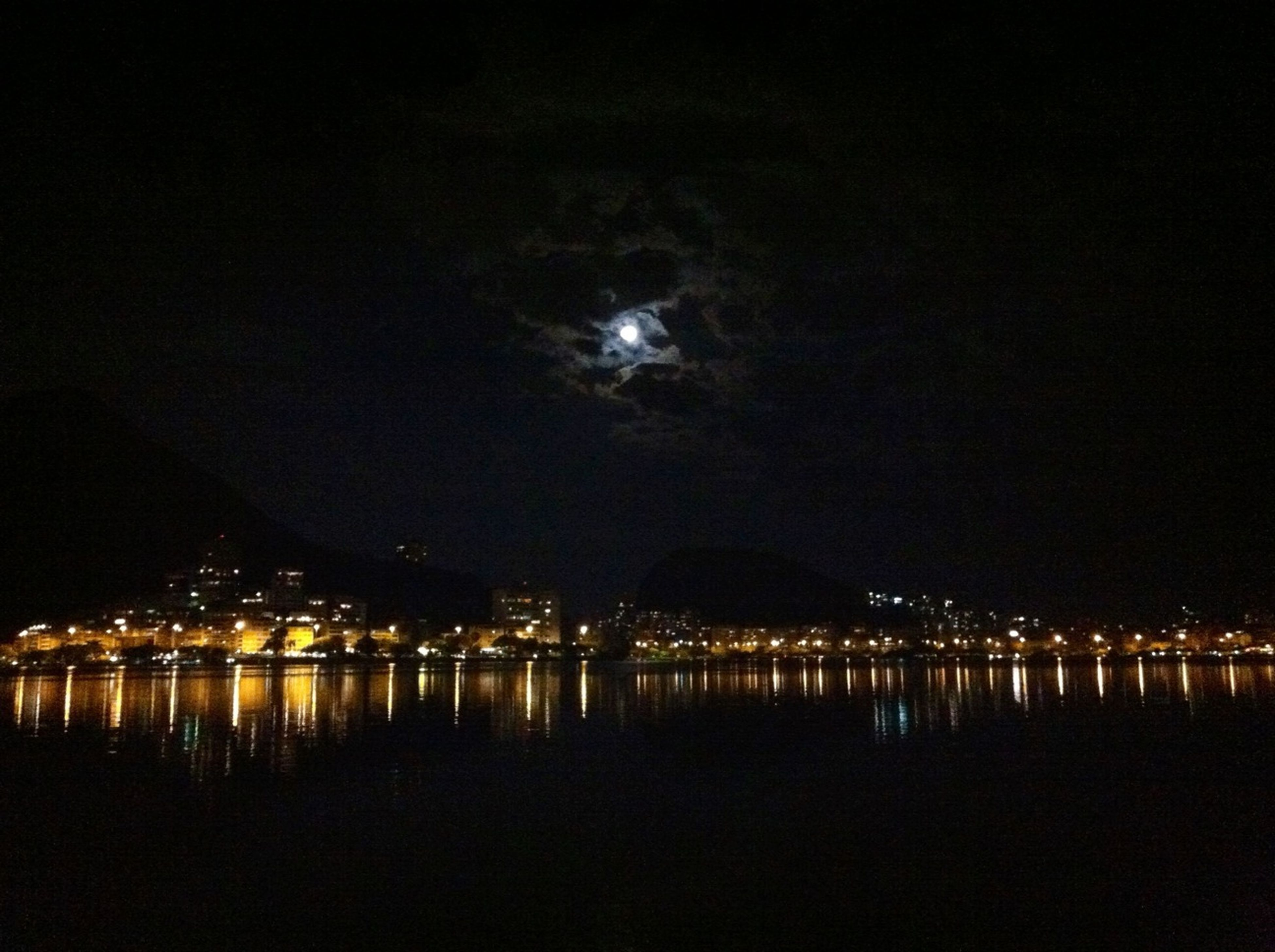 night, illuminated, water, waterfront, reflection, sky, sea, river, tranquil scene, tranquility, scenics, lake, built structure, architecture, light, nature, dark, beauty in nature, outdoors, lighting equipment