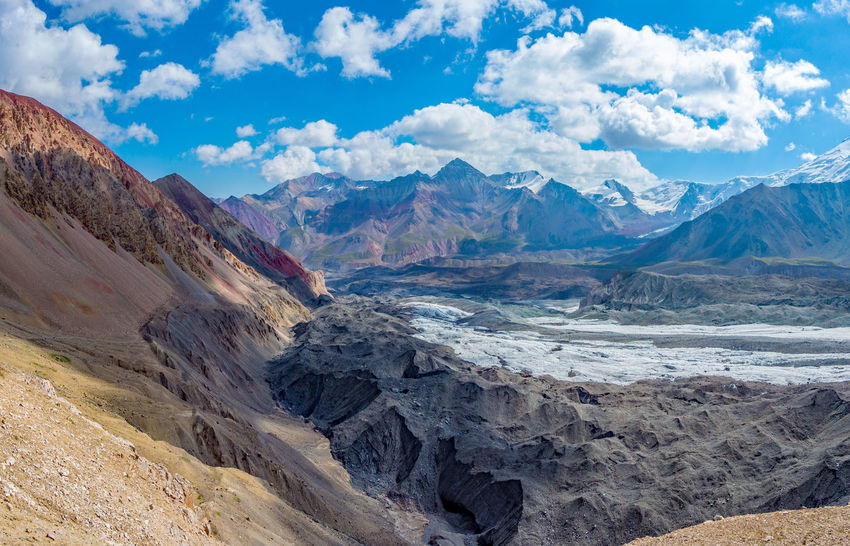 Kyrgyzstan Pamir Mountains Beauty In Nature Cloud - Sky Day Geology Landscape Mountain Mountain Range Nature No People Outdoors Pamir Physical Geography Scenics Sky Tranquil Scene Tranquility Travel Destinations
