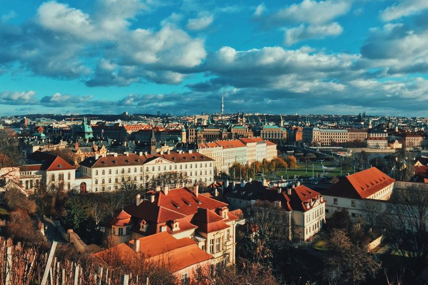 Sunny winter day in Prague, Czech Republic Prague Cityscape Europe City City View  Tower Architecture Cityscape Sky Over City