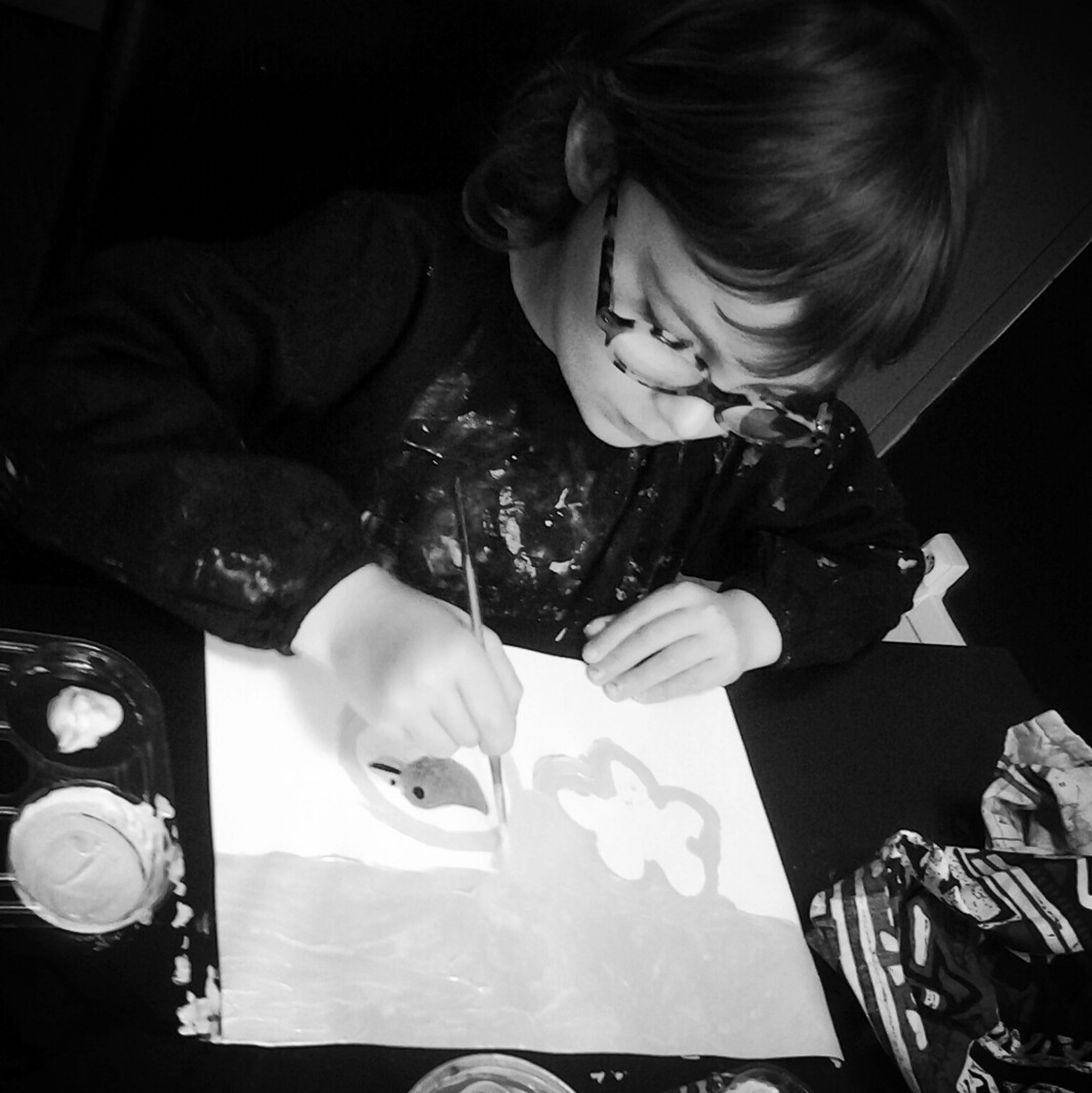 painting a rainbow and a blue bird Black And White Photography Kids' Artwork Black&white Painting #Creating