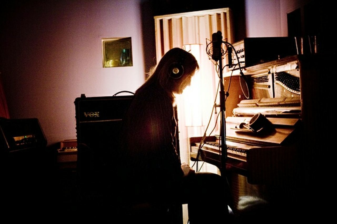 Indoors  One Person Illuminated Night Piano Adult First Eyeem Photo This Week In Eyeem This Week On Eye Em EyEmNewHere Tranquility Musical Instruments Musical Equipment Recording Session Long Hair Purple Illuminate Recording music Chasingdark Recording Studio Vox Voxamp Pianoporn Piano Moments