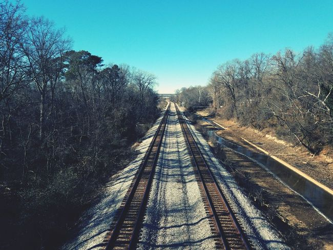 Double Wide Tracks The Way Forward Railroad Track Rail Transportation Day Transportation Sunlight Outdoors Straight Sky No People Nature Tree