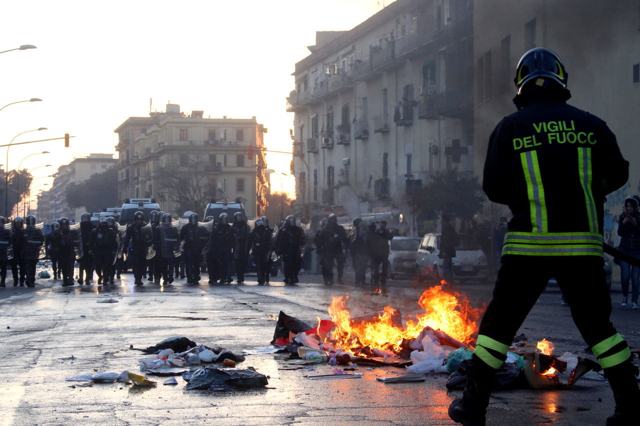Manifestation Firefighter Occupation Napoli Flame Burning Naples Italy Heat - Temperature People Photography Work Smoke - Physical Structure People Men Outdoors Corteo Rivolta Rebel Day Rebels