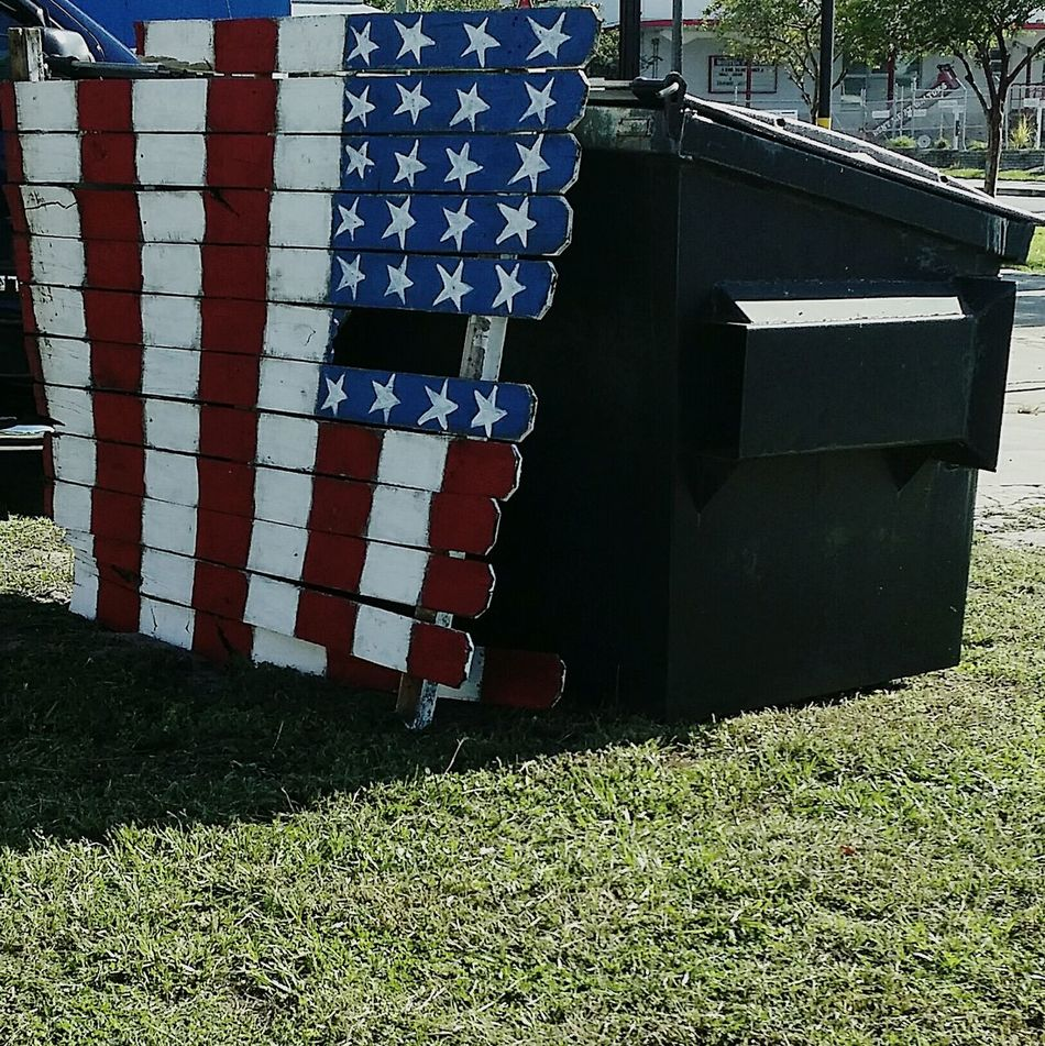 TakeoverContrast Communication Day Sky Signboard Outdoors Man Made Object No People American Flag Folk Art  Dumpster Dumpsterdiving