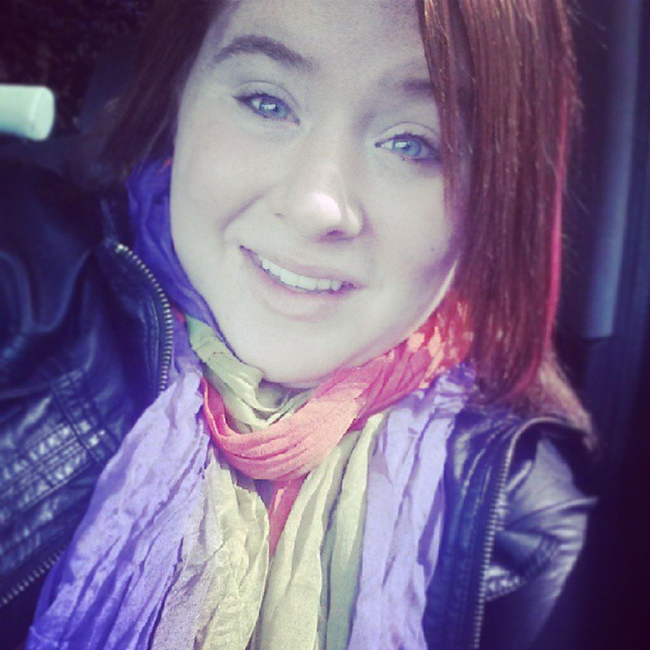 Nomakeup Newscarf Redhairdontcare Breadtcancerawarness pinkhair blueeyes smile