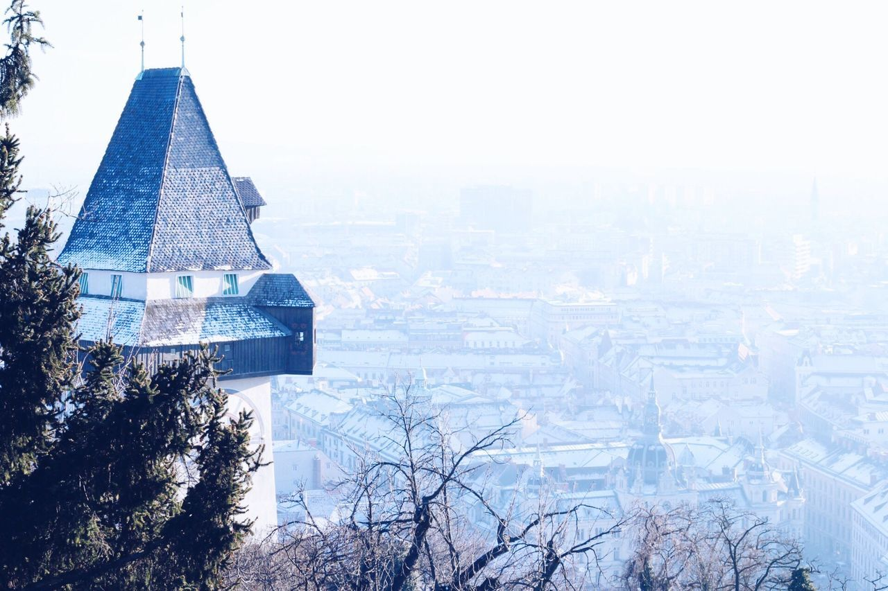 Winter Tree Snow Building Exterior Built Structure Architecture Cold Temperature No People Outdoors Place Of Worship Day Nature Religion City Sky Snowing Cultures Graz Austria Visitaustria Turmuhr Tower Clock Tower