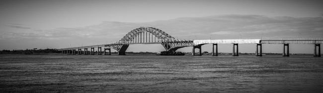Architecture Black & White Black And White Blackandwhite Bridge Bridge - Man Made Structure Built Structure Connection Engineering Famous Place Harbor International Landmark Modern Mountain Range Outdoors Scenics Sky Tranquil Scene Tranquility Vacations Vignette Water Waterfront