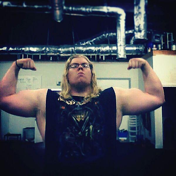 Pic from awhile back. Powerlifter Metalhead Metalboy Viking Norse Nordic Longhair Blue Eyes Blonde Guyswithlonghair