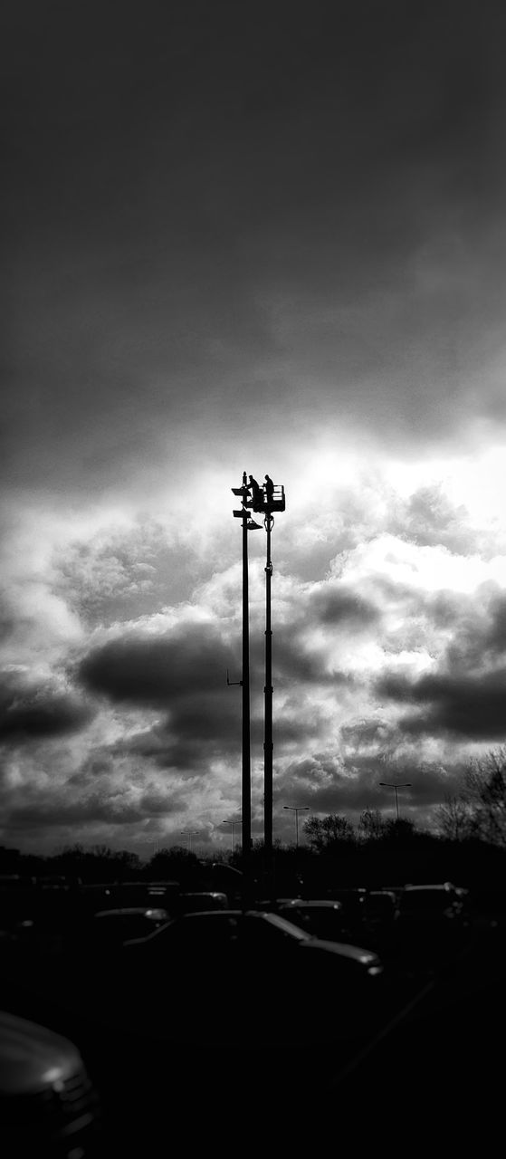 cloud - sky, sky, low angle view, outdoors, street light, silhouette, floodlight, no people, day, nature