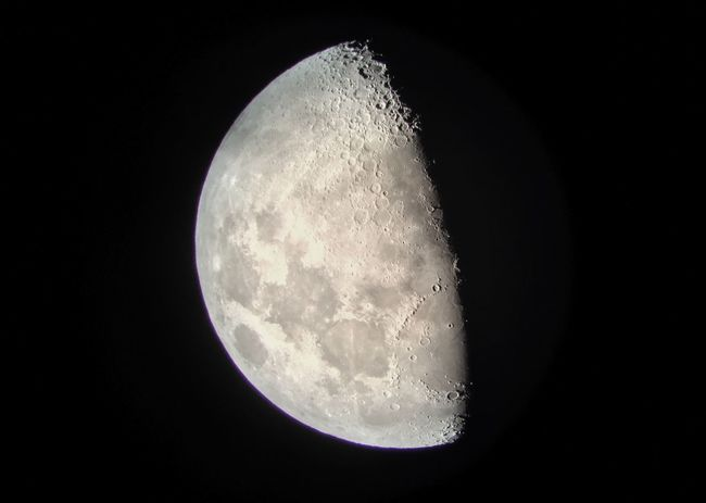 The moon, shot with my iPhone (and about 4.5 tons of telescope) Moon Nightlights Night Sky Crater Cheeseballs Craters Of The Moon The Moon Now Moon Shots Half Moon My God, It's Full Of Stars