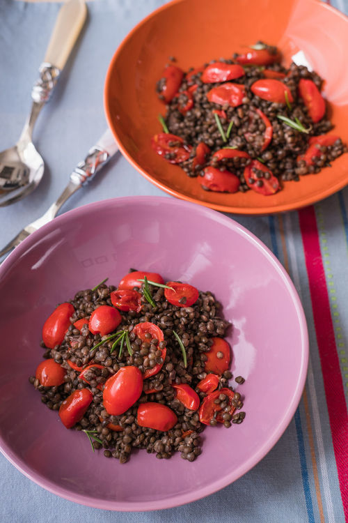 Salad of lentils and tomatoes Close-up Confit Directly Above Food And Drink Freshness Healthy Eating High Angle View Lentils Table Tomatoes Food Stories