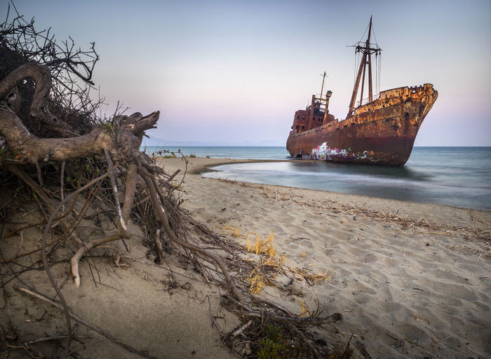 Dimitrios Abandoned Bad Condition Beach Beauty In Nature Damaged Destruction Nature Nautical Vessel No People Outdoors Run-down Rusty Sand Scenics Shipwreck Transportation Water