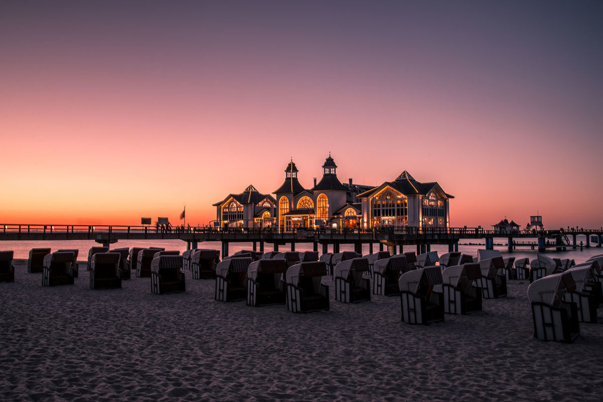 Sellin Germany Sunset Baltic Sea Beach Beauty In Nature Day Horizon Over Water In A Row Nature No People Outdoors Rügen Sand Scenics Sea Sellin Shore Sky Summer Sunset Tranquil Scene Tranquility Vacations Water