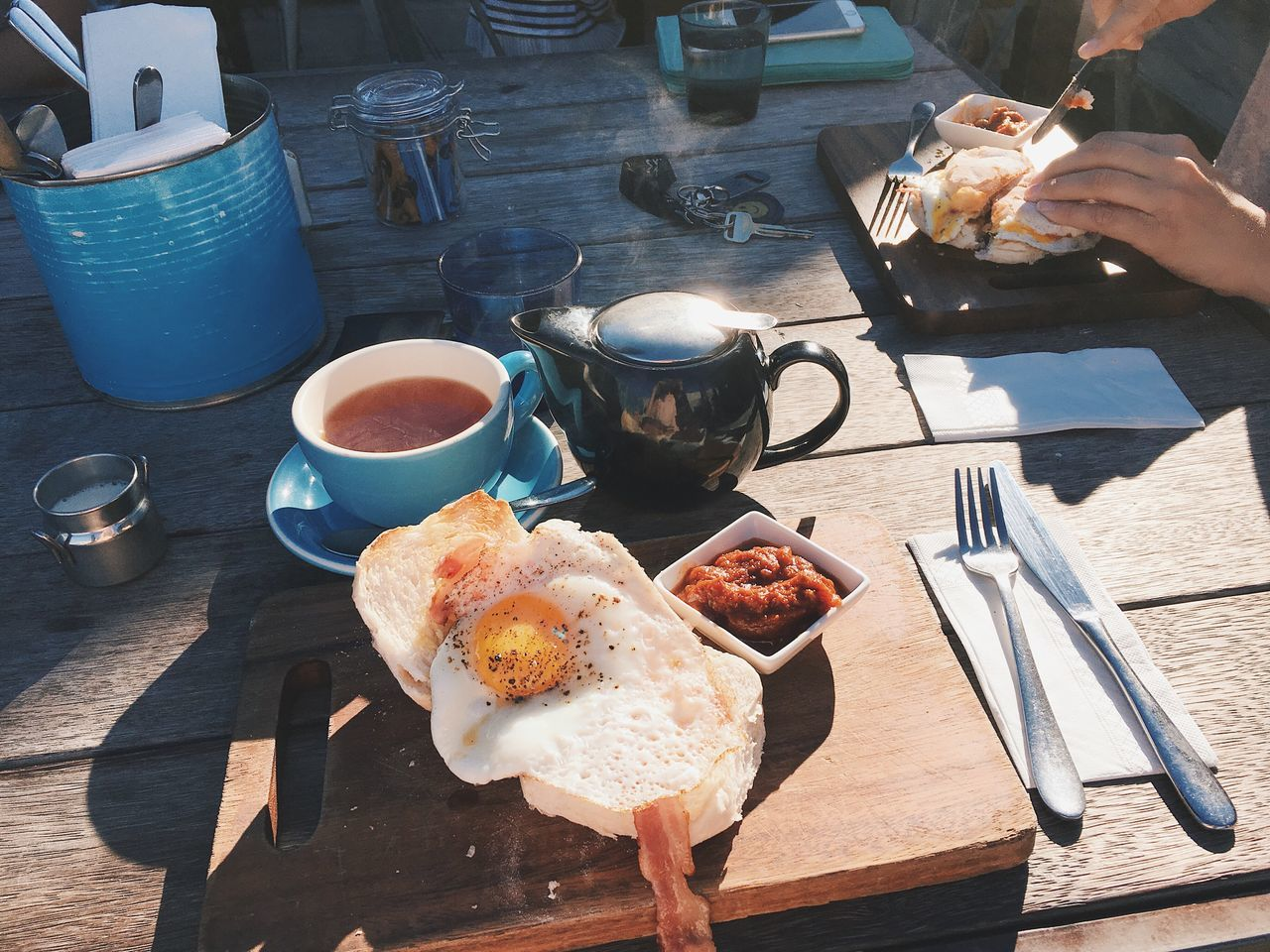 Breakfast Brunch Eggs Bacon Food Food And Drink Table Eating Outdoors Tea