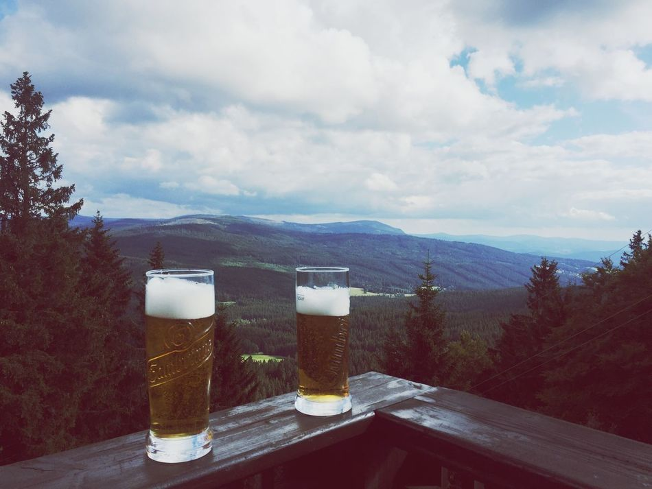 Almost TOP of Šumava Cold Temperature Sky Drink Mountain Day Nature Outdoors Landscape No People Scenics Cloud - Sky Refreshment Beauty In Nature Beer Glass Freshness Tranquility Alcohol Beer