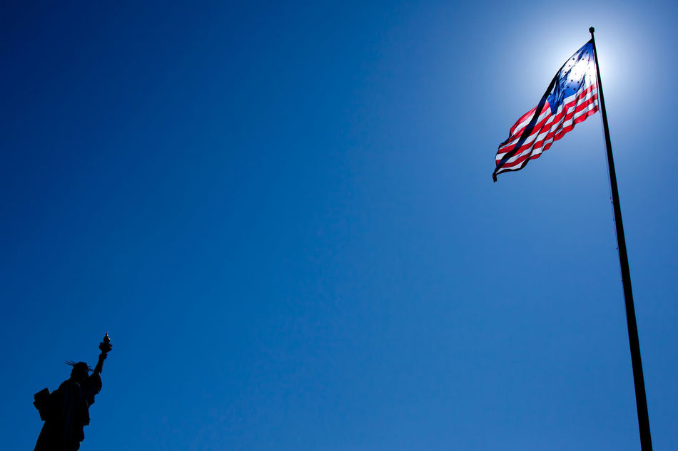 Beautiful stock photos of statue of liberty, American Culture, American Flag, Blue, Clear Sky